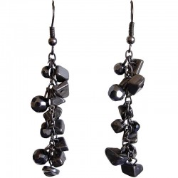 Handmade Costume Jewellery, Handcrafted Fashion Gift, Haematite Tumblechip Grey Bead Dangling Earrings