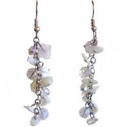 Beige Costume Jewellery, Drop Earring, Mother of Pearl MOP Tumblechip Clear Bead Dangling Earrings