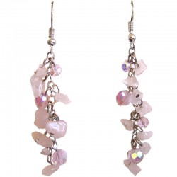 Fashion Drop Costume Jewellery, Rose Quartz Tumblechip Pink Bead Dangling Earrings
