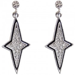 Simple Costume Jewellery, Classic Accessories, Fashion Women Girls Small Gift, Clear Diamante Twinkle Star Drop Earrings