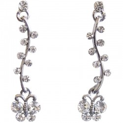 Costume Jewellery, Dressy Accessories, Fashion Women Girls Small Gift, Clear Diamante Dangling Butterfly Drop Earrings