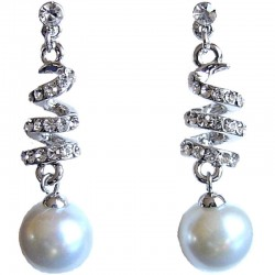 Classic Costume Jewellery, Dressy Accessories, Fashion Women Gift, Clear Diamante Spiral Beige Pearl Drop Earrings