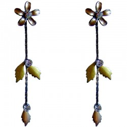 Cute Costume Jewellery Accessories, Fashion Women Girls Small Gift, Brown Enamel Flower Leaf Drop Earrings