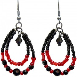 Handcrafted Bead Costume Jewellery Accessories, Fashion Women Small Gift, Black & Red Beaded Teardrop Loop Dangle Earrings