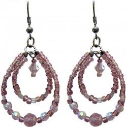 Dusky Purple Beaded Teardrop Double Loop Dangle Earrings