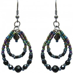 Handcrafted Bead Costume Jewellery Accessories, Fashion Women Gift, Black Beaded Teardrop Loop Dangle Earrings