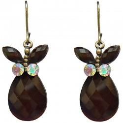 Costume Jewellery Accessories, Fashion Young Women Girls Small Gift, Brown Diamante Butterfly Teardrop Earrings