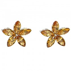 Light Brown Diamante Flower Stud Earrings