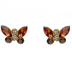 Cute Costume Jewellery Earring Studs, Classic Accessories, Fashion Women Girl Small Gift, Brown Diamante Butterfly Stud Earrings