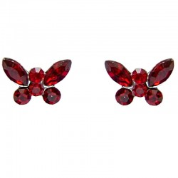 Cute Costume Jewellery Earring Studs, Classic Accessories, Fashion Women Girls Small Gift, Red Diamante Butterfly Stud Earrings