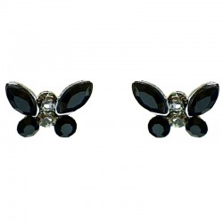 Cute Costume Jewellery Earring Studs, Classic Accessories, Fashion Women Girl Small Gift, Black Diamante Butterfly Stud Earrings
