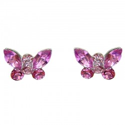 Cute Costume Jewellery Earring Studs, Classic Accessories, Fashion Women Girls Small Gift, Pink Diamante Butterfly Stud Earrings