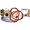 Burgundy Diamante Red Enamel Rose Bracelet