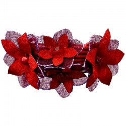 Burgundy Silk Flower Statement Multi-Strand Cord Bracelet