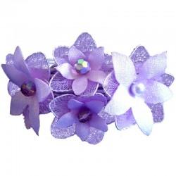 Bridal Costume Jewllery, Bridesmaid Wedding Party Accessories, Purple & Lilac Silk Flower Statement Multi-Strand Cord Bracelet