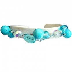Women's Beaded Costume jewellery, Girls Gift, Fashion Blue Bead Magnetic Clasp Wire Bracelet
