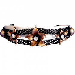 Costume Jewellery Accessoies, Fashion Women Girls Cute Small Gift, Brown Enamel Flower Black Mesh Fashion Bracelet