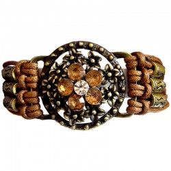 Brown Diamante Brass Flower Circle Multi Strand Cord Bracelet