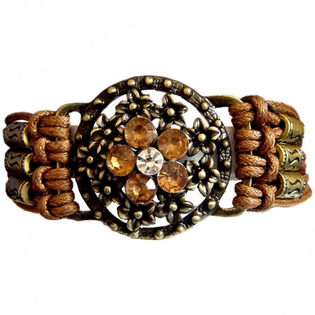 Chic Costume Jewellery Accessoies, Fashion Women Girls Small Gift, Brown Diamante Brass Flower Circle Multi Strand Cord Bracelet