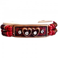 Chic Costume Jewellery Accessoies, Fashion Women Girls Trendy Small Gift, Red Enamel Twin Heart Multi Strand Cord Bracelet