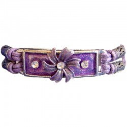 Chic Costume Jewellery Accessoies, Fashion Young Women Girls Trendy Small Gift, Purple Enamel Flower Multi Strand Cord Bracelet