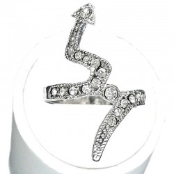 Modern Costume Jewellery Fashon Rings, Young Women Girls Dainty Gifts, Clear Diamante Lightning Arrow Long Ring