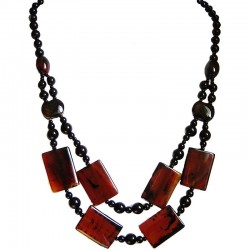Reddish Brown Rectangle Natural Stone Cascade Long Necklace