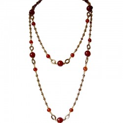 Carnelian Natural Stone Brown Bead Antique Gold Extra Long Necklace