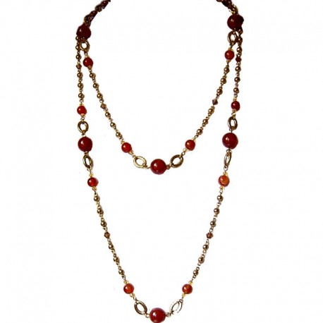 Costume Jewellery Accessories, Fashion Women Gift, Carnelian Natural Stone Brown Bead Antique Gold Extra Long Necklace