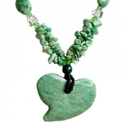 Classic Romance Costume Jewellery Accessories, Chic Fashion Womwn Gifts, Green Natural Stone Large Heart Long Necklace