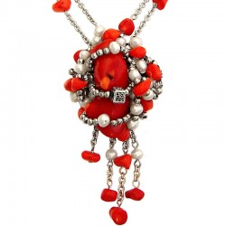 Natural Stone Costume Jewellery Accessories, Fashion Women Gift, Entwined Red Coral Chain Necklace