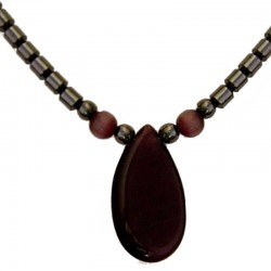 Costume Jewellery Accessoies, Fashion Women Girls Small Gift, Purple Cats Eye Teardrop Haematite Natural Stone Necklace