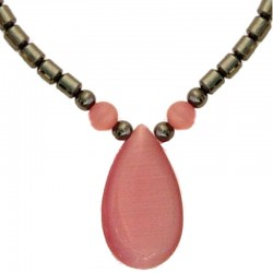 Costume Jewellery Accessoies, Fashion Women Girls Small Gift, Pink Cats Eye Teardrop Haematite Natural Stone Necklace