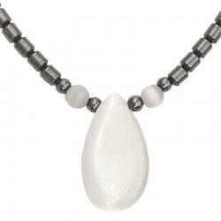 Costume Jewellery Accessoies, Fashion Women Girls Small Gift, White Cats Eye Teardrop Haematite Natural Stone Necklace