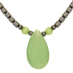 Costume Jewellery Accessoies, Fashion Women Girls Small Gift, Lime Green Cats Eye Teardrop Haematite Natural Stone Necklace