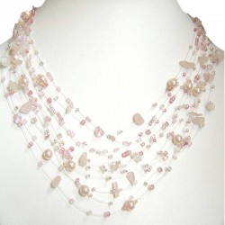 Beaded Costume Jewellery, Rose Quartz Tumblechip Multi-strand Floating Pink Pearl Bead Cascade Necklace