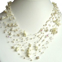 Multi Row, Layered Beige Beaded Jewellery, Mother of Pearl MOP Tumblechip Multi-strand Bead Floating Necklace