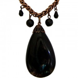 Costume Jewellery Accessoies, Fashion Women Girls Small Love Gift, Black Natural Stone Teardrop Pendant Copper Chain Necklace