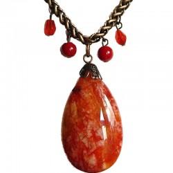 Unique Costume Jewellery Accessoies, Fashion Women Girls Small Love Gift, Orange Natural Stone Teardrop Copper Chain Necklace