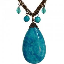 Unique Costume Jewellery Accessoies, Fashion Women Girls Small Love Gift, Blue Natural Stone Teardrop Copper Chain Necklace