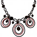Black & Red Beaded Triple Teardrop Loop Statement Necklace