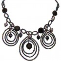 Black Beaded Triple Teardrop Loop Statement Necklace