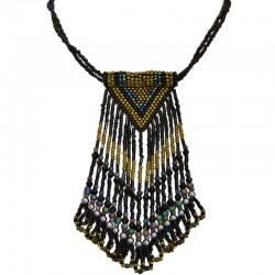 Black Beaded Triangle Tassel Necklace