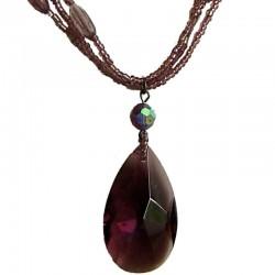 Handcrafted Bead Costume Jewellery Accessories, Fashion Women Gift, Purple Teardrop Dusky Purple Multi Strand Beaded Necklace