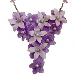 Purple & Lilac Silk Flower Chandelier Statement Necklace