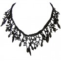Black Bead Chandelier Cascade Bib Statement Necklace