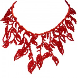 Bridal Costume Jewellery, Fashion Women Wedding Party Dress Accessory, Red Beaded Leaf Chandelier Cascade Bib Statement Necklace