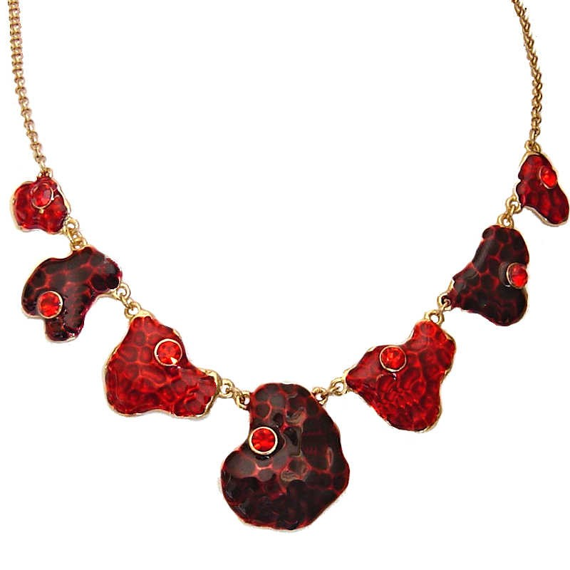 Red Enamel Fashion Necklace, Gold Plated Costume Jewelry UK Gift