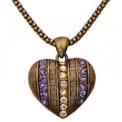 Classic Costume Jewellery Dressy Accessories, Fashion Women Girls Small Gift, Purple Diamante Brass Puffy Heart Pendant Necklace