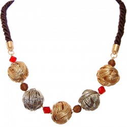 Modern Costume Jewellery Accessories, Women Gift, Fashion Silver & Copper Woolball Rope Necklace